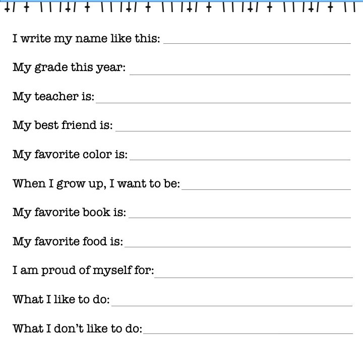 My 1st Day of School Interview Printable