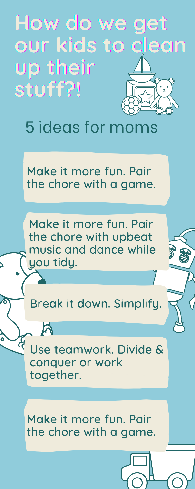 Infographic of tips for moms to help kids do chores